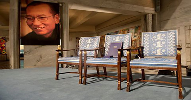 The Norwegian Noble Committee says Liu XiaoBao's designated Chair at the podium in the Olso City Hall was left empty. Photo:NNC